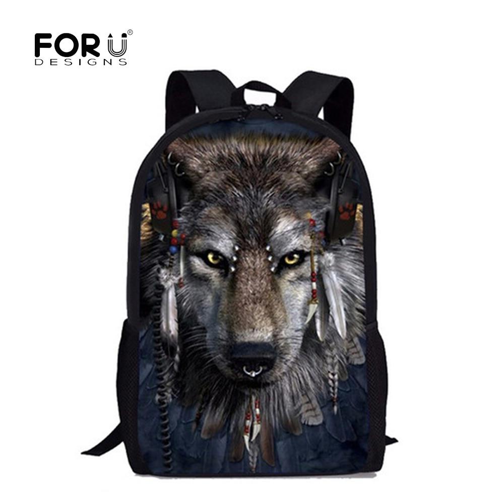 FORUDESIGNS Primary School Bags Cool Wolf Shark Backpack for Students Schoolbag Boys Girls Backpacks Book Bag Kids Best Gift стоимость