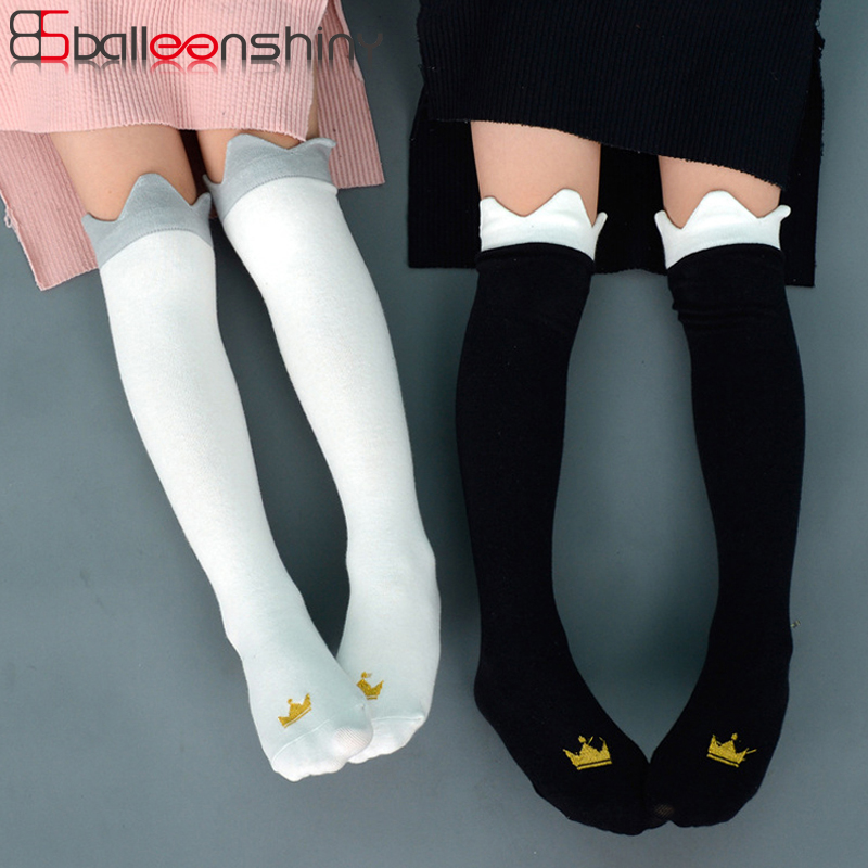 BalleenShiny Children Crown Print Knee High Socks Kids Cute Princess Fashion Cotton Long Socks Baby Girls Sprint Autumn Socks 3d print unicorn socks girls kawaii ankle licorne chaussette femme calcetines mujer cute emoji art happy kids long cotton socks