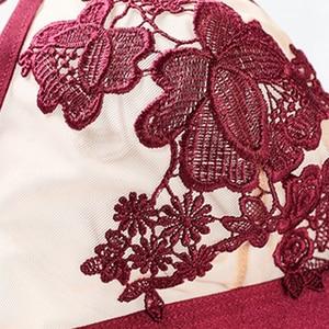 Image 4 - Ensemble soutien gorge en maille V profonde pour femme, ensemble soutien gorge et culotte en maille, sous vêtements transparents, garniture élastique transparente