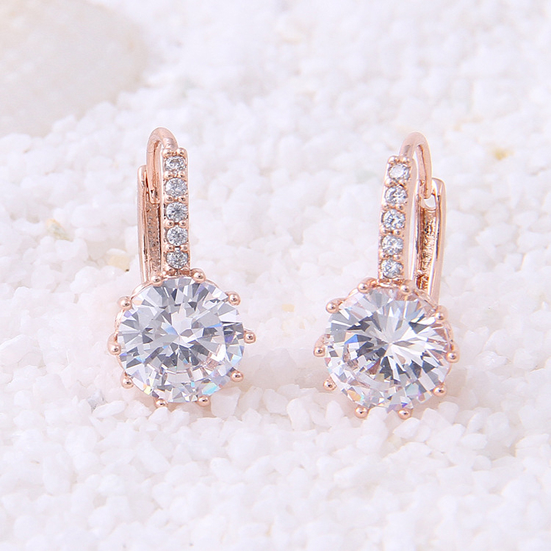 Solid 18K White Yellow Gold 1Ctw 6.5mm DF color Lab Grown Moissanite Diamond Earrings Engagement Wedding Earrings For Women