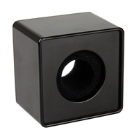 10x 1pc Black ABS Mic Microphone Interview Square Logo Flag Station