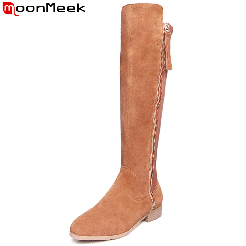 MoonMeek 2018 new fashion knee high boots round toe zip suede leather boots low heels autumn winter boots ladies shoes womanMoonMeek 2018 new fashion knee high boots round toe zip suede leather boots low heels autumn winter boots ladies shoes woman