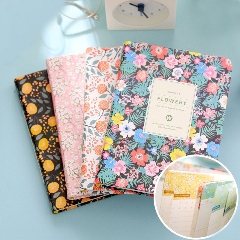 Cute Kawaii Flower School Notebook Weekly Planner Notepads Diary For Kids Gift Korean Stationery Free Shipping 2066 never sweet pink diary a6 spiral notebook agenda 2018 personal weekly planner chancellory school supplies korean gift stationery