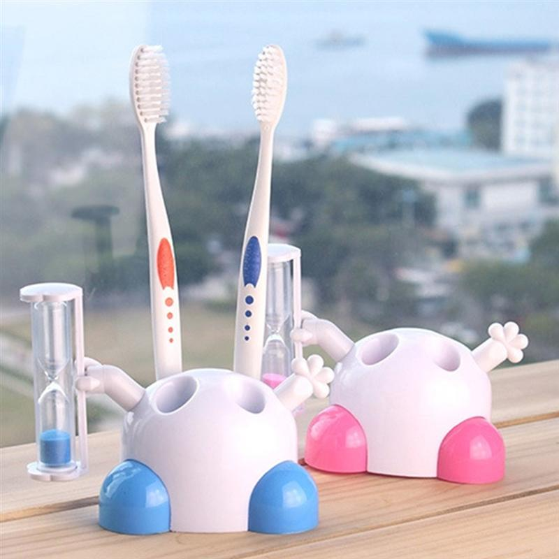 Image 4 - 2pcs Cute Creative Hourglass Timing Toothbrush Holder Beautiful Boxed Toothbrush Rack For Children Bathroom (Random Color)-in Toothbrush & Toothpaste Holders from Home & Garden