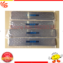 Free Shipping!Stainless steel LED Door Sill Scuff Plate Threshold Pad Tread Plate Welcome Pedals For Peugeot 408 2014 4PCS