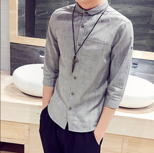 Summer linen skinny paragraph 7 minutes of sleeve shirts males males's put on short-sleeved shirt