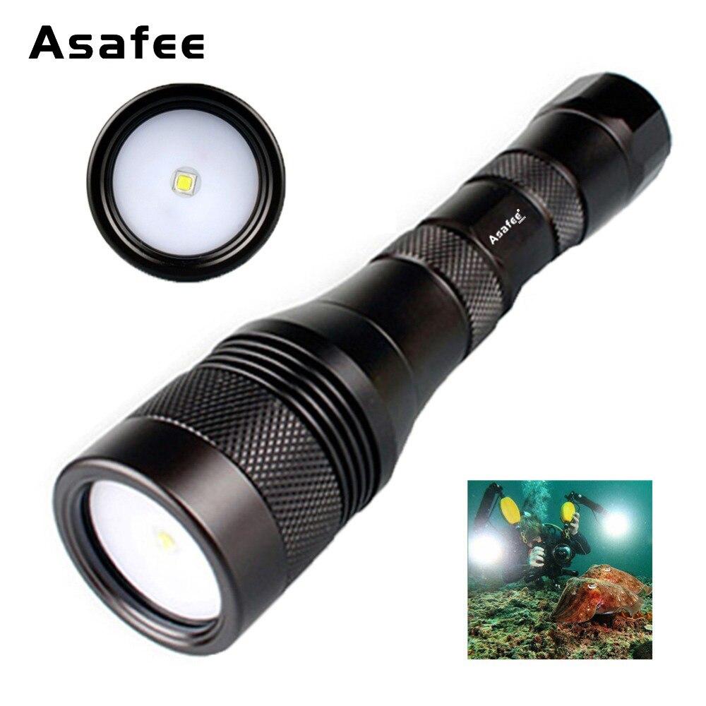Asafee DIV01V povandeninė fotografija šviesa 120 laipsnių spindulio kampas Profesionalus CREE XM-L2 LED nardymo vaizdo apšvietimas 18650 26650