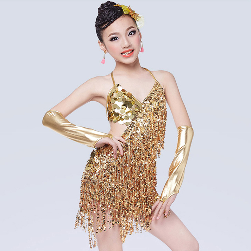 Latin Dance Dress For Girls Gold/Silver Kaka Dance Dress 3 Pcs (Dress+2*Sleeve) Sequins Tassel Salsa Cha Cha Competition Dresses