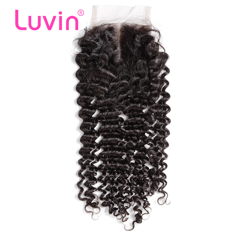 <font><b>Luvin</b></font> Malaysian Curly Hair Lace Closure 100% Human Hair Middle Part Bleached Knots With Baby Hair Brazilian <font><b>Deep</b></font> <font><b>Wave</b></font> Free Part image