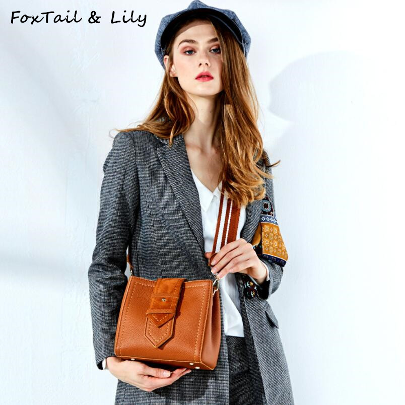 FoxTail & Lily Luxury Women Genuine Leather Bucket Handbags Small Shoulder Messenger Bag Summer New Fashion Mini Crossbody Bags fashion leather handbags luxury head layer cowhide leather handbags women shoulder messenger bags bucket bag lady new style