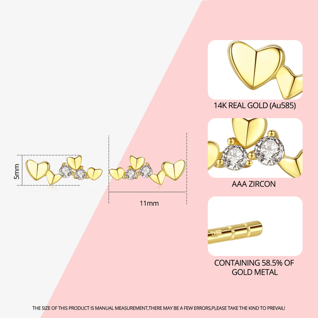 Exquisite 14k Gold Heart Stud Earrings 2
