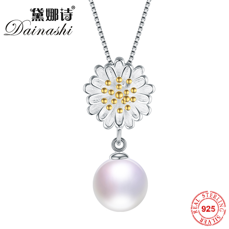 Dainashi 100% Natural Perfect Freshwater Pearl Pendant Necklace 925 Solid Sterling Silver Fine Jewelry New 45cm Silver ChainDainashi 100% Natural Perfect Freshwater Pearl Pendant Necklace 925 Solid Sterling Silver Fine Jewelry New 45cm Silver Chain