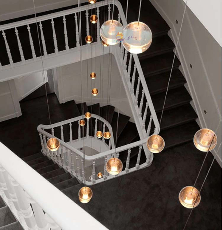 Stairwell long 2 3.5M G4 led crystal pendant lights postmodern large Crystal Ball l& duplex house Led spiral stair lighting-in Pendant Lights from Lights ... & Stairwell long 2 3.5M G4 led crystal pendant lights postmodern ... azcodes.com