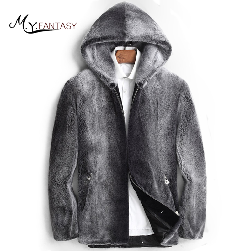 Jacket Mink-Coats USA Real-Fur-Zippers Winter Velvet Short Slim with Hat Causal Handsome