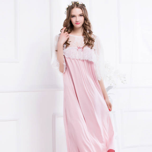 Online Shop Ladies Sleepwear Elegant Women Pink Lace Nightdress Home dress  Round Neck Nightgown Long Nightgown M 25f4e98ff