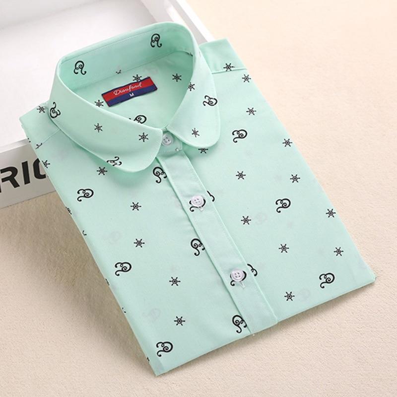 חולצות סתיו Dioufond נשים חולצות כותנה פרחוניות אלגנטיות גבירותיי חולצות חולצות הדפסת נקבה שרוול ארוך בתוספת גודל Blusas