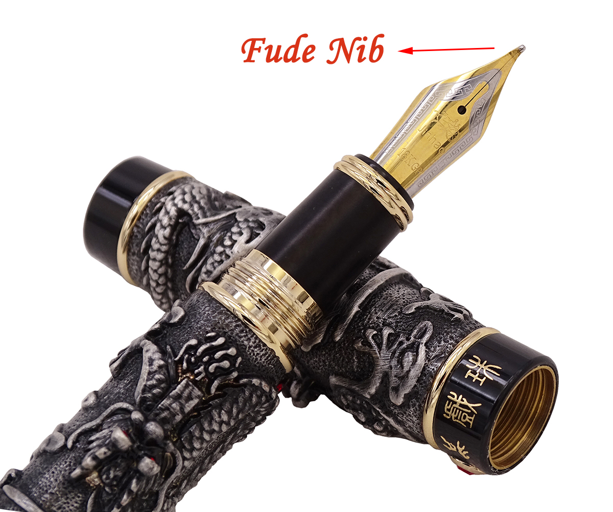Jinhao Vintage Noble Gray Fountain Pen Double Dragon Calligraphy Fude Nib Metal Carving Embossing Heavy Gift Pen CollectionJinhao Vintage Noble Gray Fountain Pen Double Dragon Calligraphy Fude Nib Metal Carving Embossing Heavy Gift Pen Collection