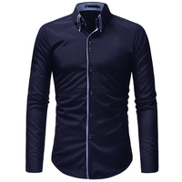 2018 New Hot Sale Men Shirt Long Sleeves Solid Color Mens Dress Shirts Camisa Masculina Autumn
