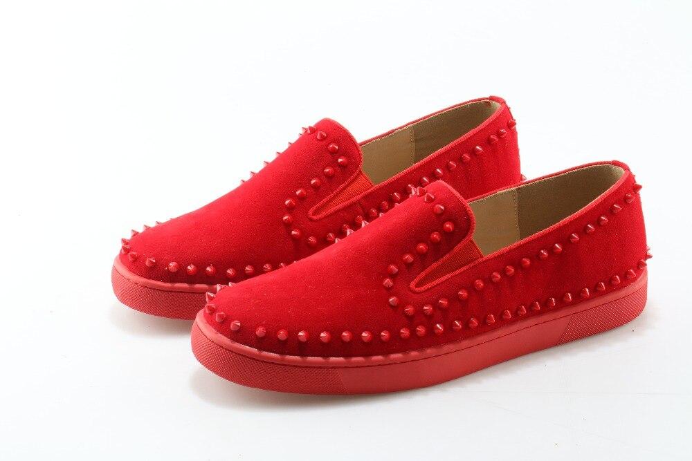 Zapatos Hombres Italianos as Pisos Moda Casual Tachonado Deslizamiento De Picture Classic 2018 Mocasines Cuero Stud Los Picture Negro Rojo Hombre Zapatillas En As az1qAvx
