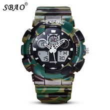 SBAO Luxury Men Sports Watch 2 Time Zone Digital Quartz Watch Waterproof Electronic Men Military Wristwatches relogio masculino