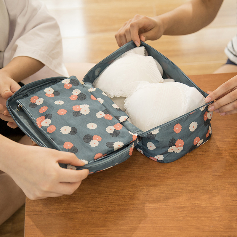 7 Colors Fashion Women Makeup Bags CosmeticTravel Bags Portable Ladies Underwear Bra boxes Nylon Waterproof Packing organizers цена 2017
