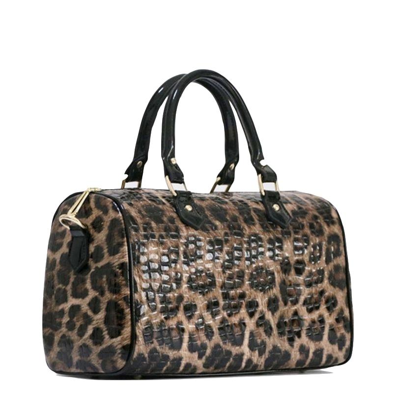 Bags for women Genuine Leather Boston Bag Handbag Leopard Pattern Printed Female Big Tote Shoulder Bags