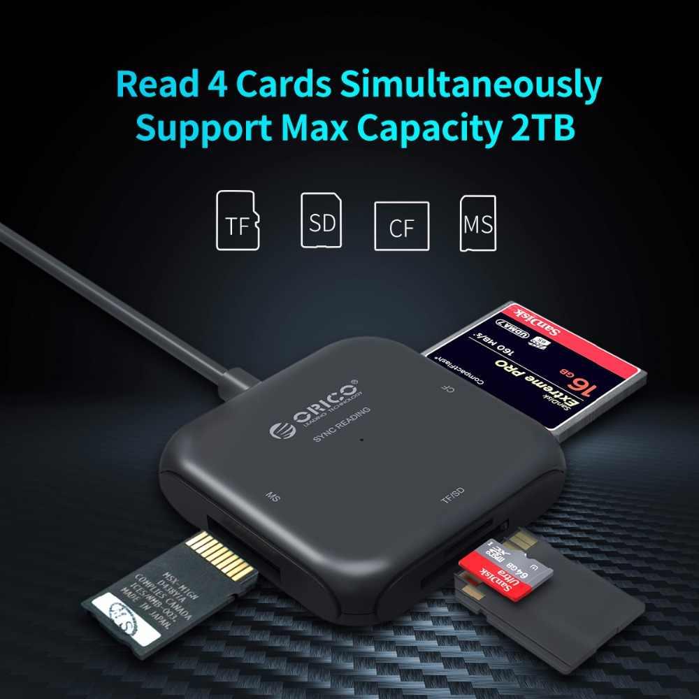 ORICO 4 في 1 USB 3.0 قارئ بطاقات ذكية فلاش متعدد قارئ بطاقات الذاكرة ل TF/SD/MS/CF 4 بطاقة القراءة والكتابة في وقت واحد-CRS31A