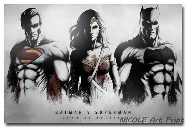 Плакат гобелен шелковый Бэтмен, супермен и чудо женщина арт