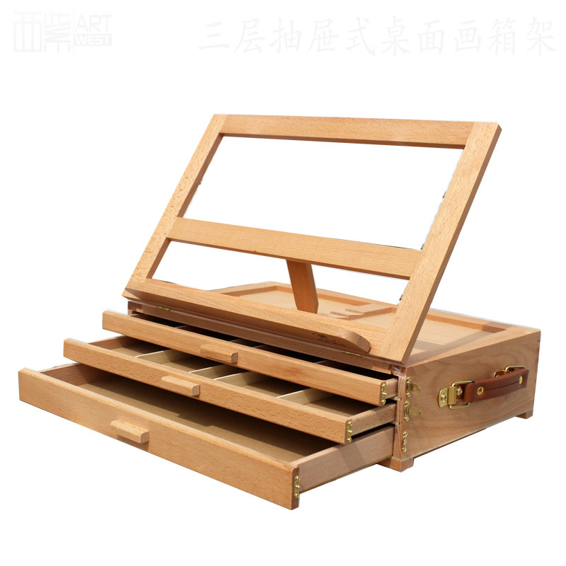 High quality portable easel beech painting box wooden desktop sketch easel picture box three layer drawers pencil storage box