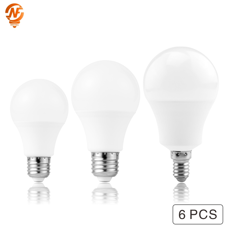 6PCS LED Bulb Lamps E14 E27 AC 220V Light Bulb Smart IC 3W 6W 9W 12W 15W 18W 20W 24W High Brightness Lampada LED Bombillas