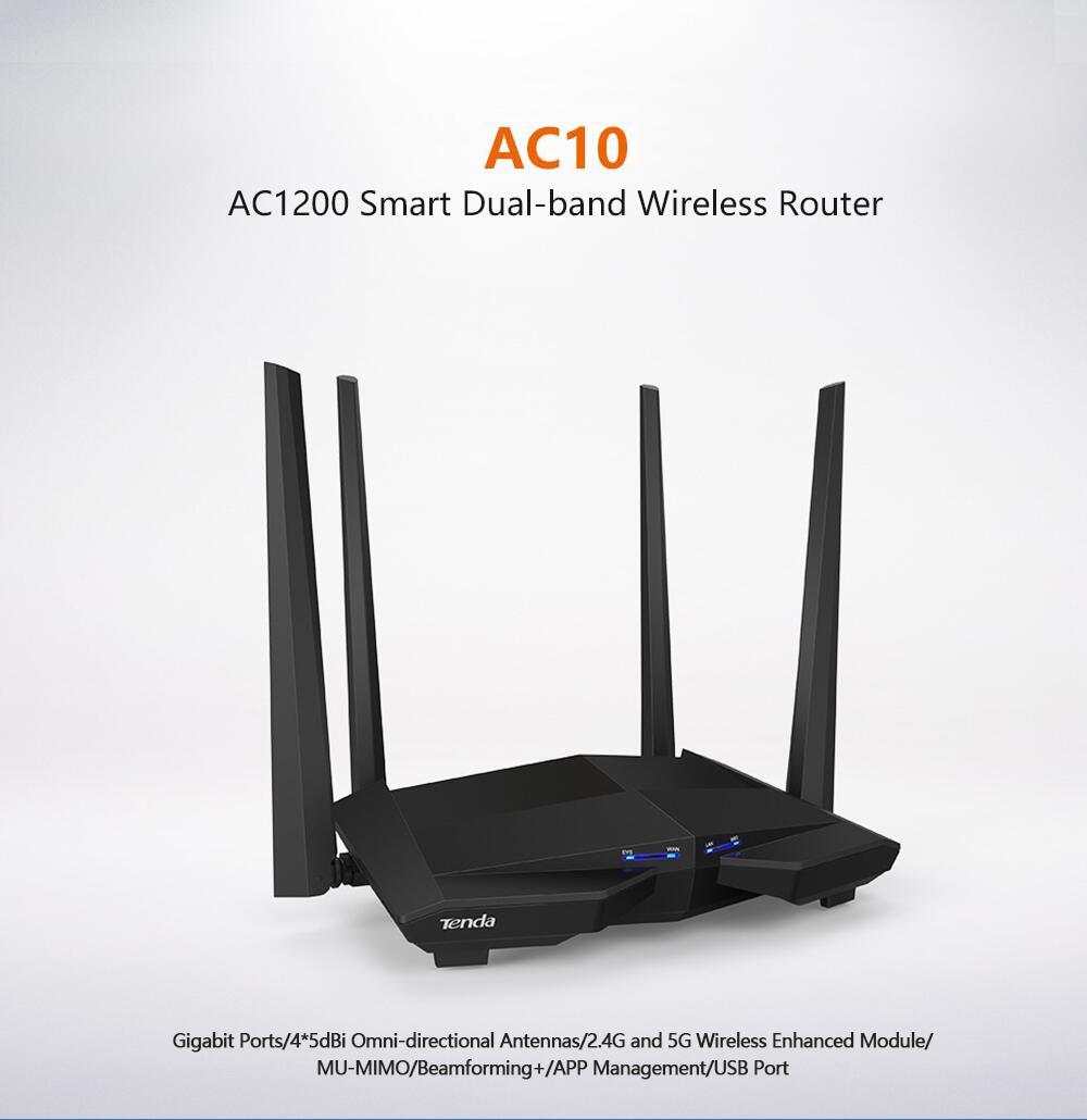 Routeur Wifi sans fil Tenda AC10 AC1200 double bande 2.4G/5G 1000 Mbps Gigabit, CPU 1 GHz, Ports Gigabit 1WAN + 3LAN, gestion d'applications intelligentes AC