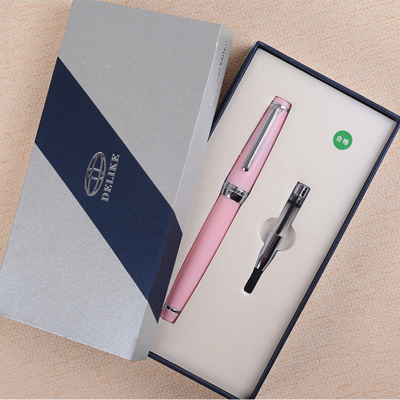 1PC Delike Newmoon 2 Silver Clip Small Bent Nib 0.5mm Art Fountain Pen Pink Blue Light Green Deep Blue Gift Pens with A Gift Box