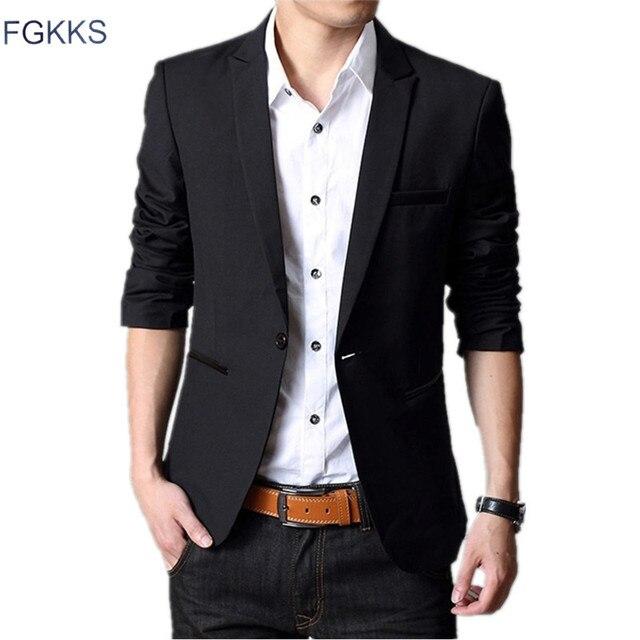 Мужской свадебный костюм FGKKS, форменный пиджак зауженного покроя, классический костюм, для осени