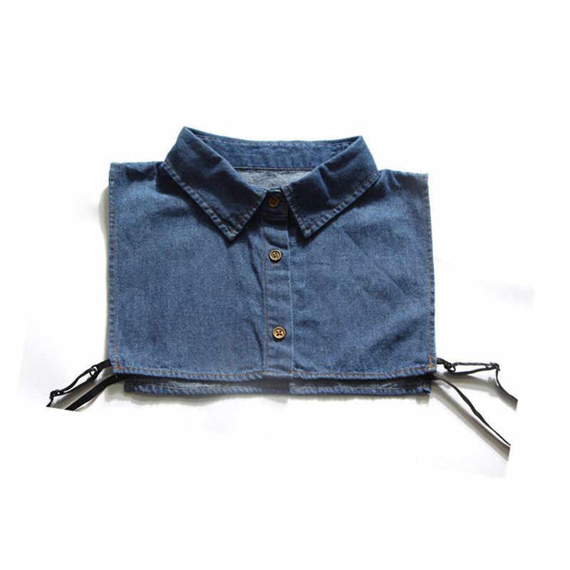 女性シャツ偽襟デニムネクタイファッション取り外し可能な襟偽襟ラペルブラウストップ女性服アクセサリー