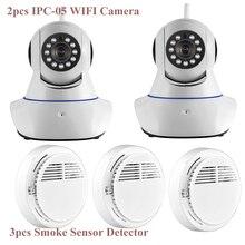 Wifi Alarm System APP Control Wireless WiFi IR Cut IP Camera HD 1MP CMOS Security CCTV IP Camera Alarm with Smoke Detector