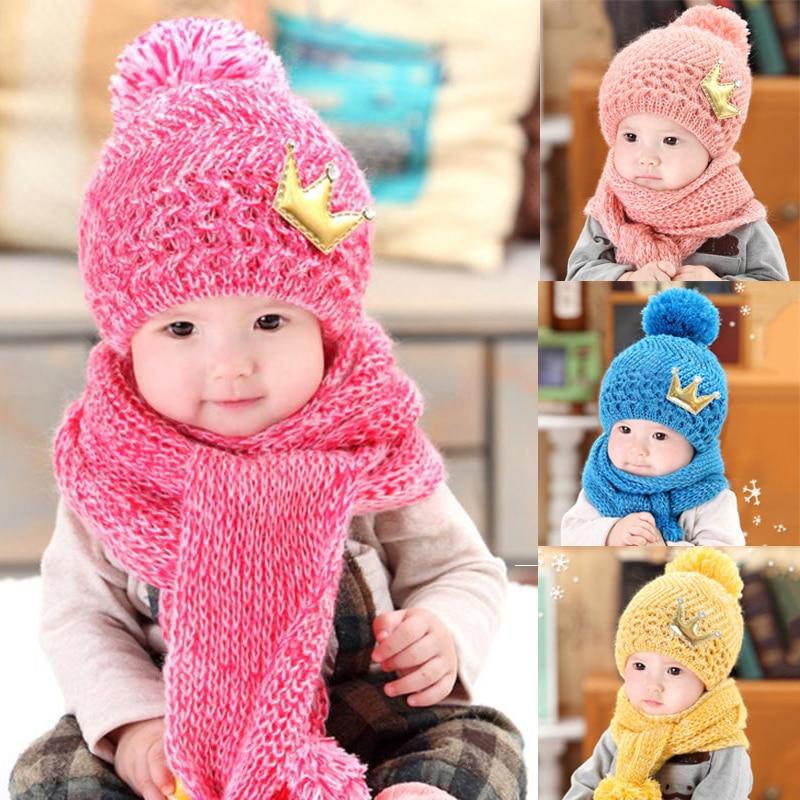 Baby Hat Caps Scarf Set Baby Girls Cap Autumn Warm Knit Children's Winter Hats Kids Children Caps Hat with Scarf Hats for Girls недорго, оригинальная цена