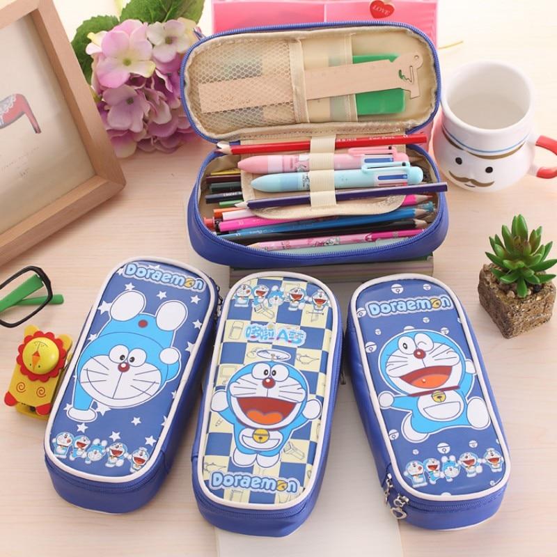 Cartoon Doraemon  Totoro Leather Pencil Bag Big Capacity Zipper Cute School Pencill Case For Girls Office School Supplies