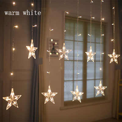 Indoor Christmas Lights.220v Eu Plug Led Star Light Christmas Lights Indoor Outdoor Decorative Love Curtains Lamp For Holiday Wedding Party Lighting
