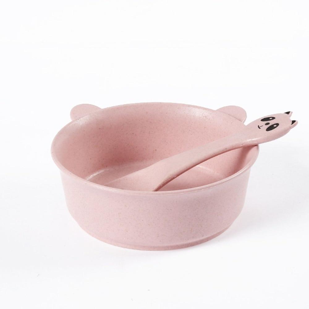 Кормление Еда посуда Mambobaby мультфильм кролик дети блюда ребенок ест наборы посуды анти-горячий ребенок обучение чаша ложка