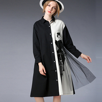 2018 Spring New Plus Size Shirt Black And White Splicing Loose Fashion Cartoon Casual Long Shirt