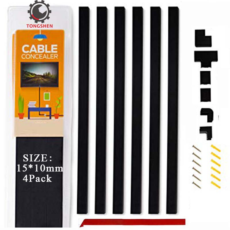15x10mm Black One Cord Cable Concealer Channel Mini Cable Hider Cable Raceway for Hiding Wires Mini Cable trunking Wire Cover