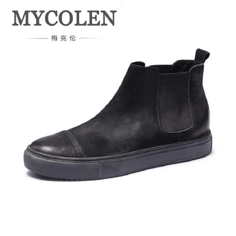 MYCOLEN Autumn Winter Shoes Brand Chelsea Boots Comfortable Retro Trend Black Genuine Leather Ankle Boots Men Shoes Chuteira northmarch autumn winter retro men boots comfortable zipper brand casual shoes leather snow boots shoes dark red bota masculina