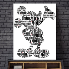 Mickey Mouse Typography Black White Canvas Painting Print Bedroom Home Decor Modern Wall Art Oil Poster Salon Pictures