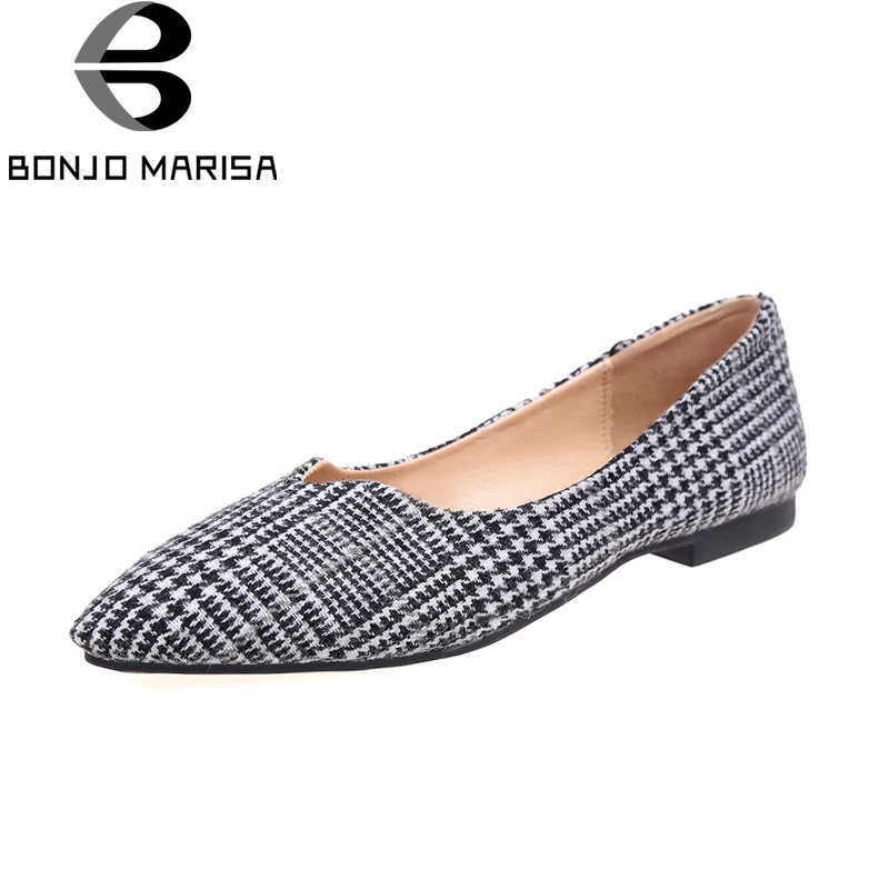 BONJOMARISA 2018 new wholesale dropshipping slip on pointed toe flats shoes women fashion comfort spring summer shoes footwear 2017 new fashion spring summer boat shoes women candy color flats pointed toe slip on flat fashion casual plus size pu shoes