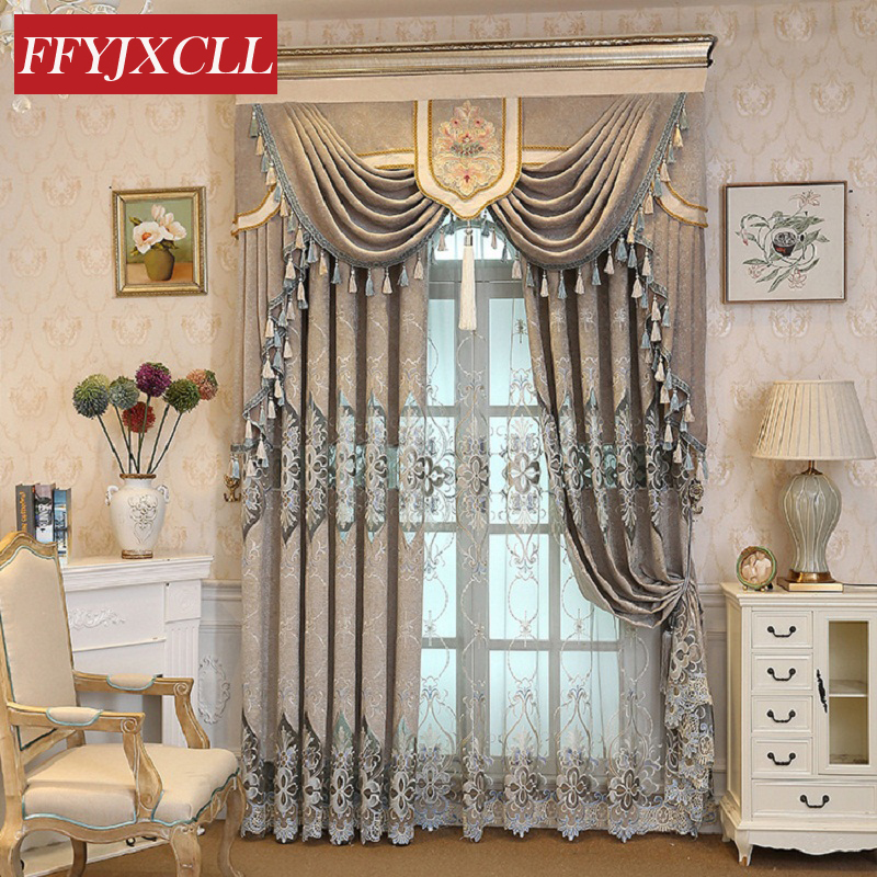 Us 15 71 55 Off Custom Made Luxury Valance Curtains Cloth For Living Room Bedroom Flowers Embroidered Windows Fabric Blinds Tulle In