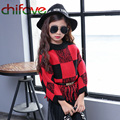 2017 Chifave  Autumn Children clothing O-neck Collar Plaid Pattern Kids Girls Sweater Tassel Chiffon Hem Pullover Girls Sweater