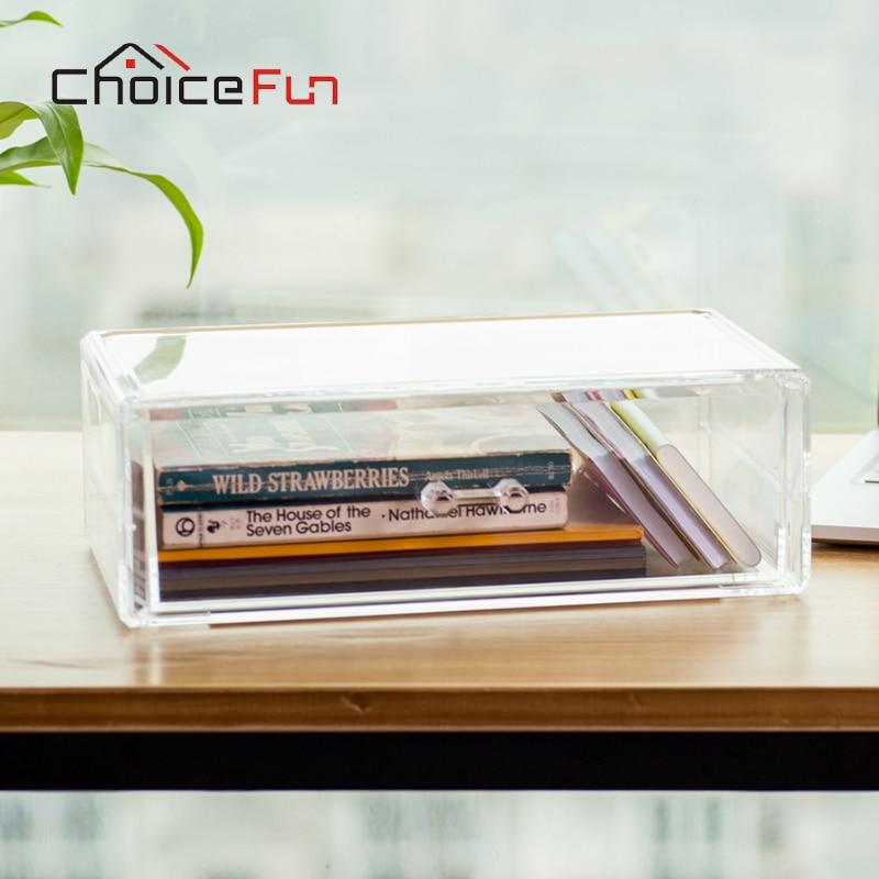 CHOICE FUN DIY 1 Layer Transparent Plastic Desktop Storage Box Jewelry Organizer Holder Cabinets For Small