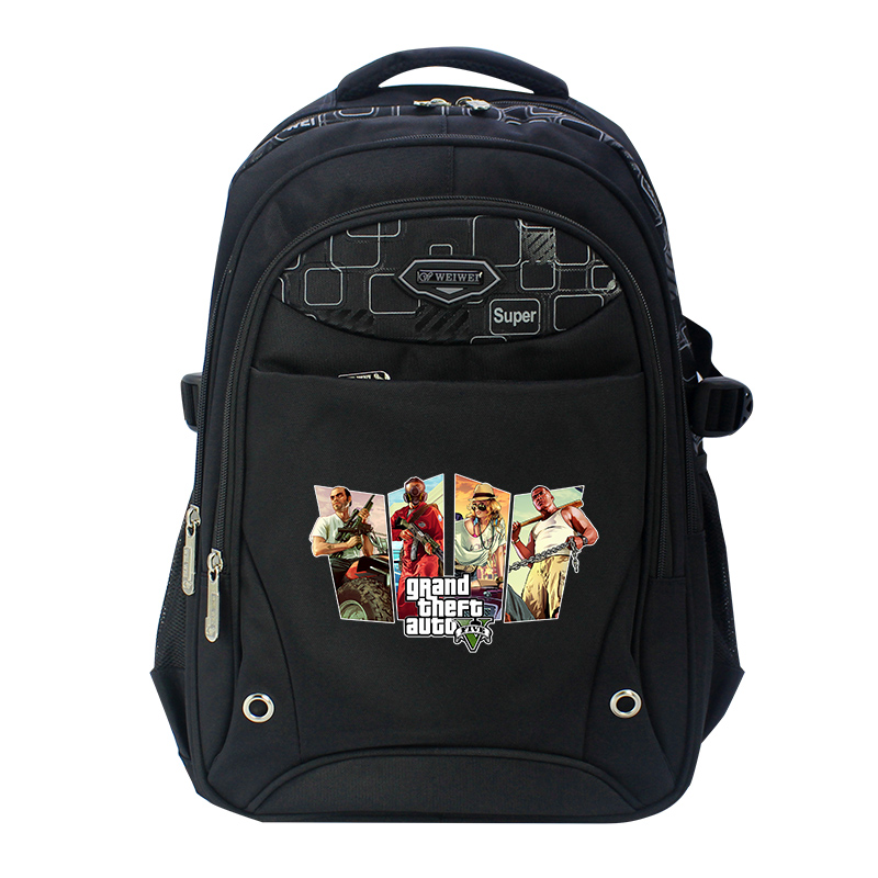Grand theft auto black Oxfords Anime Backpack Mochila Femina School Bags Laptop Backpacks for Teenage Girls boys forudesigns children backpack anime funny printing backpacks for teenager girls boys travel laptop bags school bagpack mochila