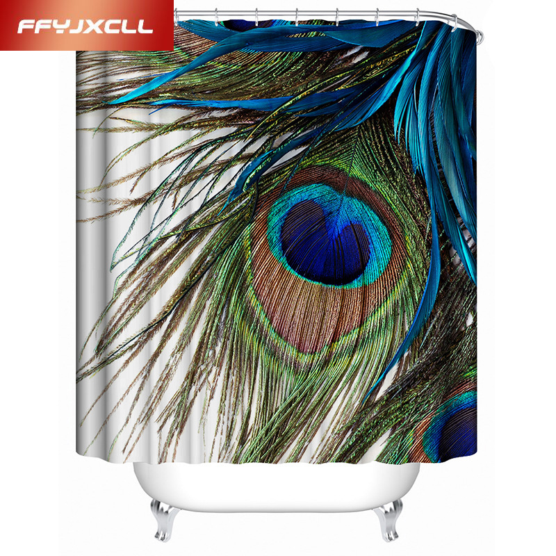 Home Decoration Beautiful Peacock Feather Waterproof Mildew Shower Curtain Custom Made Polyester Bathroom Curtain