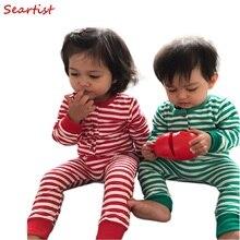 Купить с кэшбэком Baby Girls Boys Christmas Rompers Boy Girl Striped Jumpsuits Kids Xmas Pajamas Newborn Fashion Harem Rompers 2016 New  C30